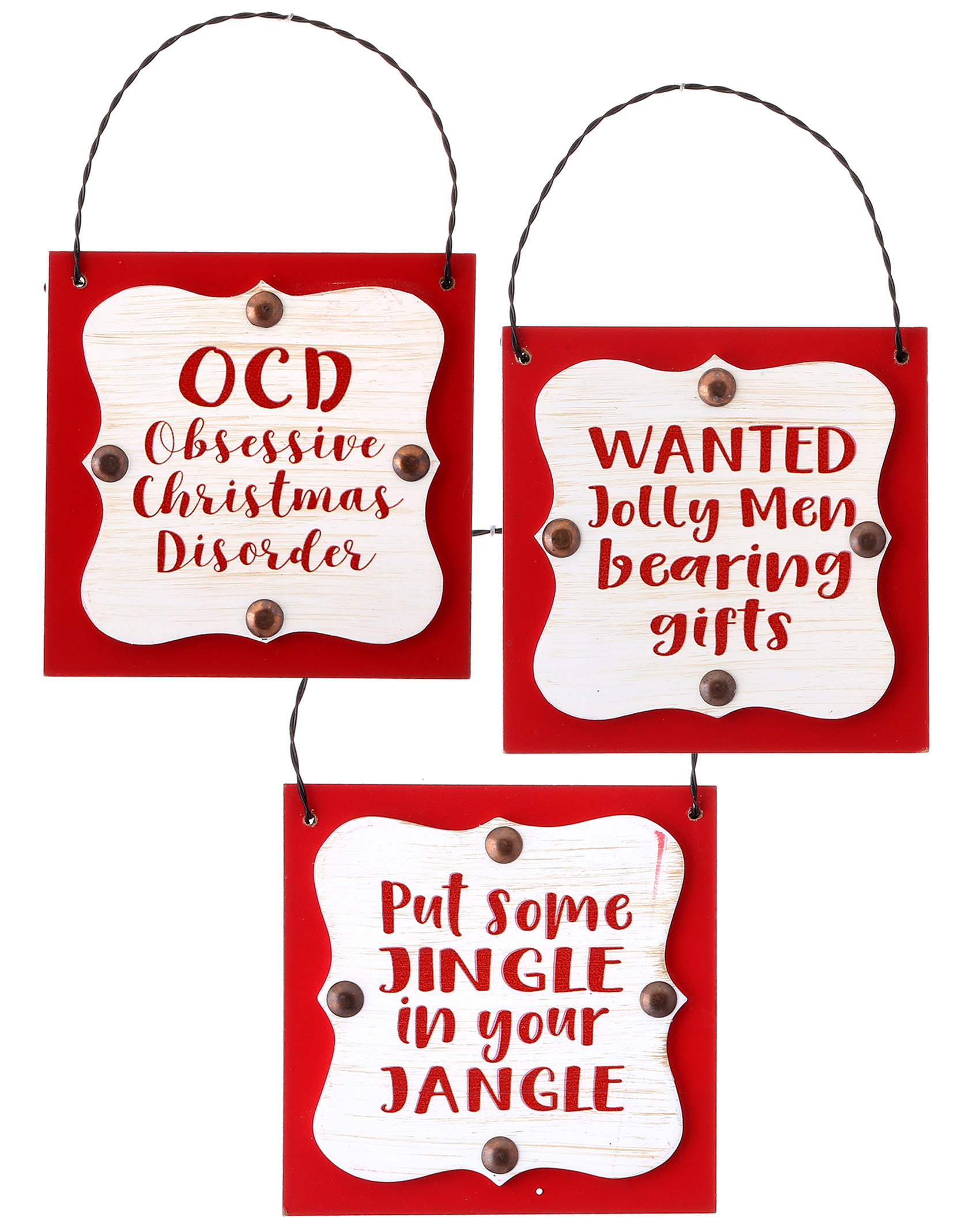 Christmas Sayings.3 Asst 4 Wooden Christmas Sayings Sign Red Wht